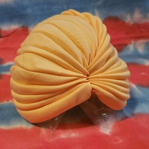 Vintage Turban Head Cover Stretchy Yellow Womens